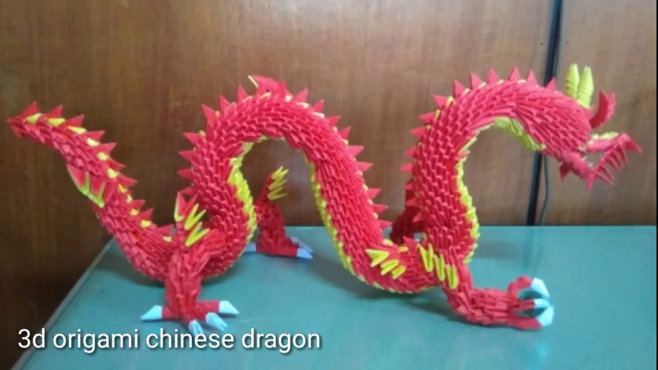 How to make 3D origami Chinese Dragon - YouTube | 720x1280