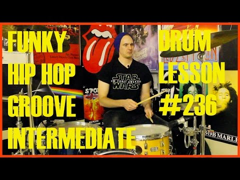 Cool Funky Hip Hop Drum Beat - Intermediate Drum Lesson #236