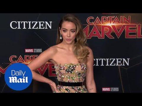 Chloe Bennet Radiates In Nude Dress At Captain Marvel Premiere