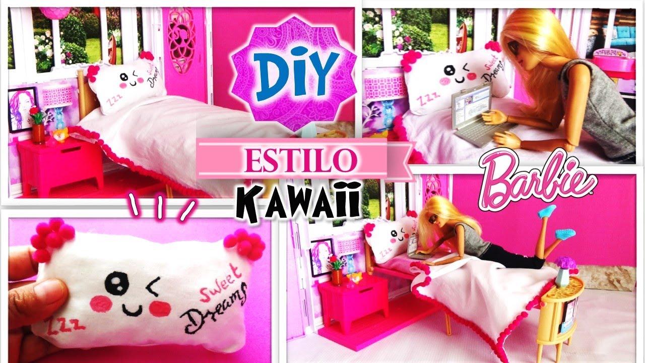 Diy decora cama de mu eca barbie estilo kawaii almohada for Cama kawaii