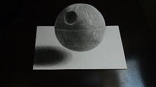 Как Рисовать 3D Звезда Смерти Звездные Войны Не сложная Иллюзия Death Star