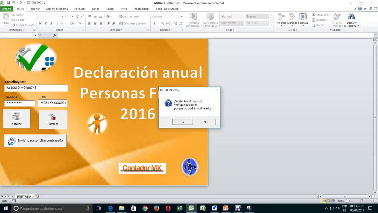 Declaración Anual De Personas Físicas En Excel Youtube