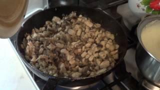 Лазанья с грибами и куриным филе