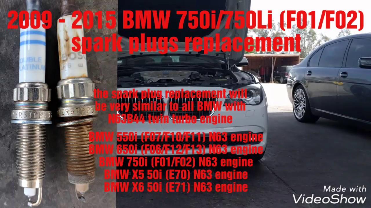 2009 - 2015 BMW 750i 750Li F01 F02 spark plugs replacement N63 engine spark  plugs replacement