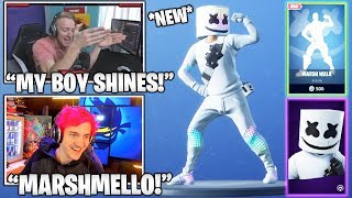 Streamers GOES CRAZY Over 'NEW' 'Marshmello' Skin - Marsh Walk Emote! (Moments Fortsnite)
