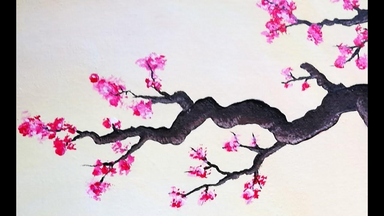 cerisier en fleurs peinture acrylique youtube. Black Bedroom Furniture Sets. Home Design Ideas