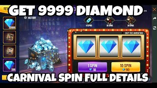 HOW TO GET 9999 DIAMOND IN FREE FIRE , FREE FIRE CARNIVAL SPIN FULL DETAILS , FREE FIRE 9999 DIAMOND
