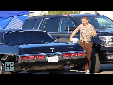 Shia LaBeouf Shirtless and Tatted up While Cleaning Car in Between Takes of The Tax Collector