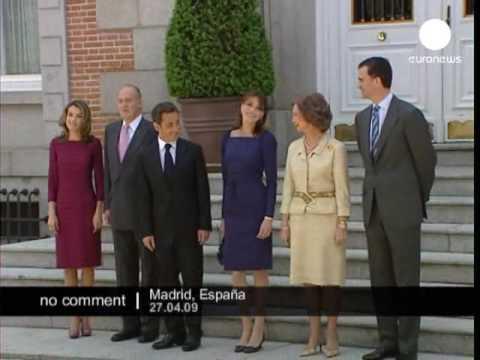 King Juan Carlos welcoming Nicolas Sarkozy