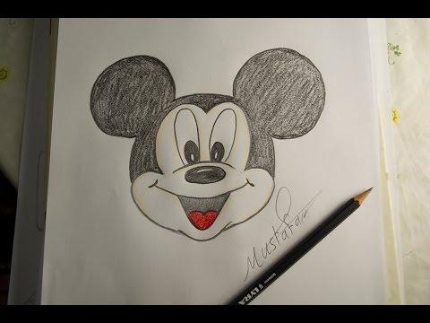 تعلم الرسم - الدرس الاول كيفية رسم ميكي ماوس بالرصاص والالوان