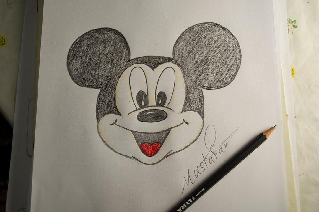 تعلم الرسم الدرس الاول كيفية رسم ميكي ماوس بالرصاص والالوان