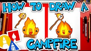How To Draw A Funny Campfire And Marshmallow