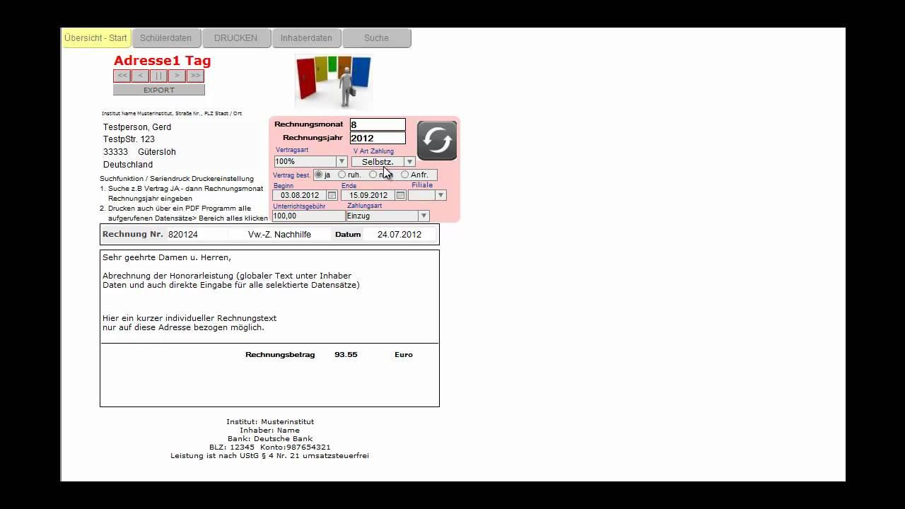 Manuelle Und Automatische Rechnungen Für Nachhilfe Und