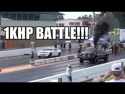 1000HP CUMMINS VS 1000HP TURBO CAMARO!!!! THE BATTLE CONTINUES!!!