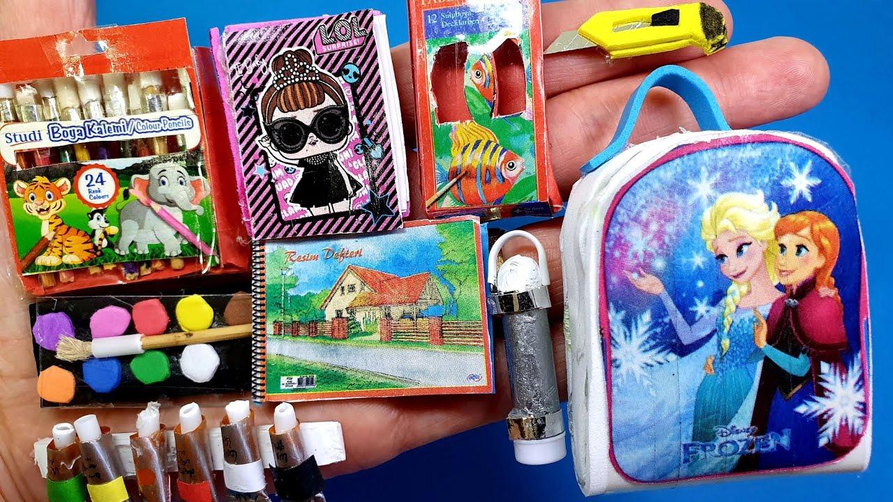 DIY Barbie İçin Minyatür Okul Eşyaları Nasıl Yapılır | Okula Dönüş 2020 ~ 5 dakikada hallet