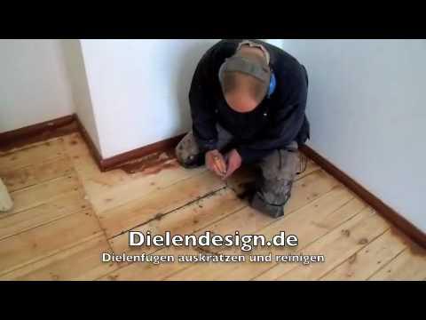 Holzfußboden Reinigen ~ Dielenfugen auskratzen und reinigen youtube