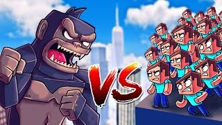 Minecraft | 1 KING KONG VS 1000 STEVES! (King Kong Movie Massive Mob Battles)