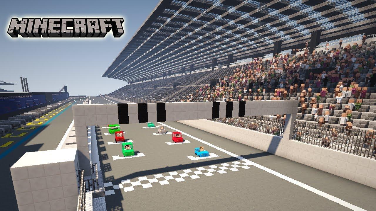 Une Course Automobile Réaliste Dans Minecraft