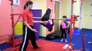 Working On Bar Combinations In Our Flips/twisters (beginner/intermediate) Gymnastics Class.