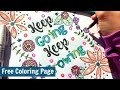 Free Adult Coloring Page - Keep Going, Keep Growing