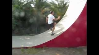 American Ninja Warrior. Alejandro training on warped walls.