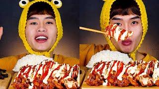 처갓집 슈프림양념치킨 케찹 마요네즈 듬뿍뿌려서 치밥먹방…