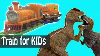 TRAINS FOR CHILDREN VIDEO: Jurassic Park and Learn Color & Cars for Kids Toys Review Cartoon