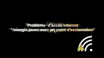 Pas d'accès internet (wifi) et  point d'exclamation dans triangle jaune