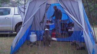 Camping - Rain, Truck, Dog, Naṗier Sportz SUV Tent, Steak Dinner