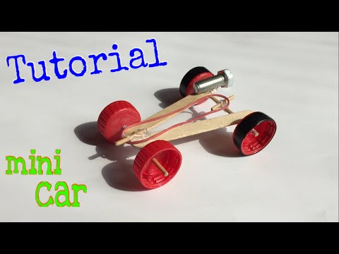 How to Make a mini Rubber band Car - (Homemade Toy) - Tutorial