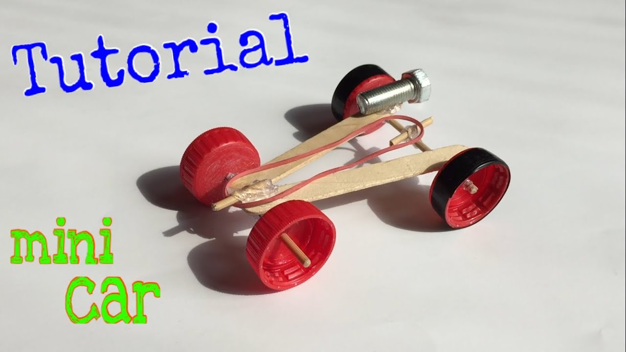 How To Make A Mini Rubber Band Car Homemade Toy Tutorial Youtube