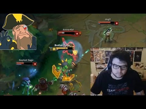 Dyrus 1v3 Against Froggen With Renekton   Froggen Invisible Teleport   Tobias Fate Steals Baron  LoL