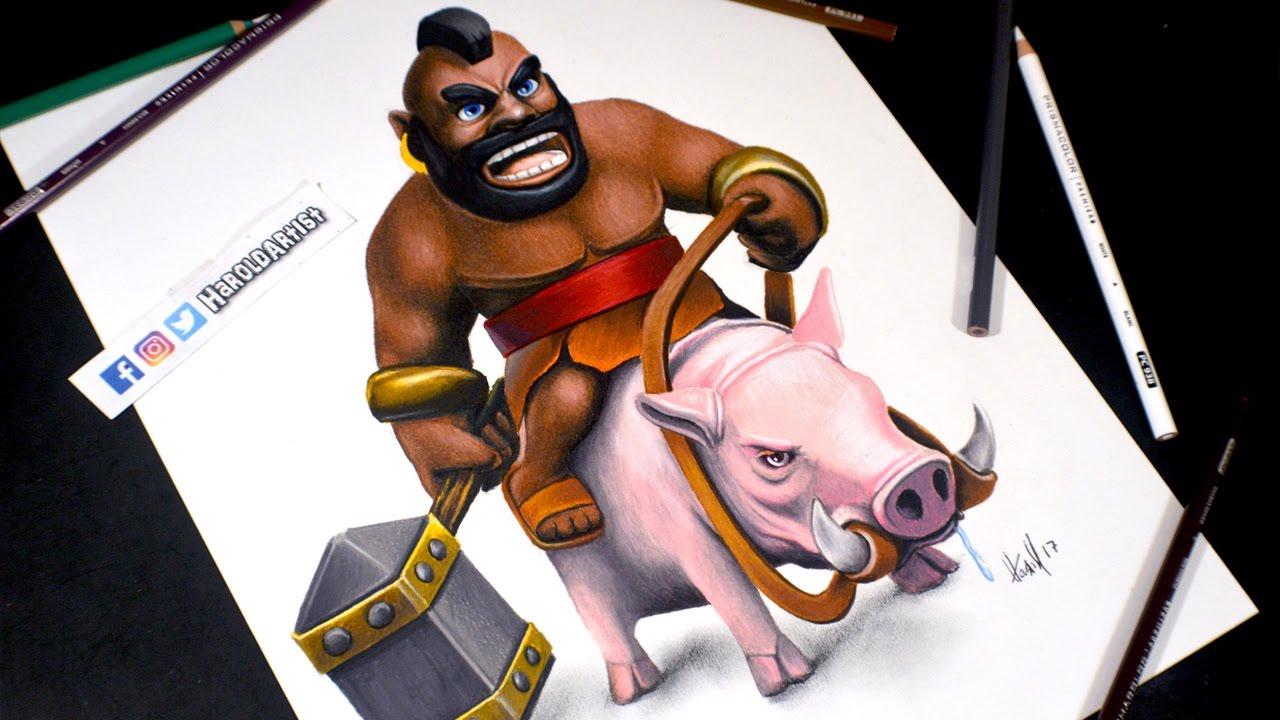 Dibujos Para Dibujar De Clash Royale: Como Dibujo Al Montapuerco De Clash Royale