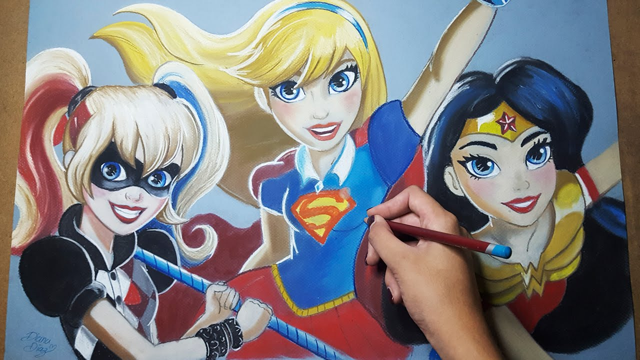 Dibujando A Dc Super Hero Girls Con Colores Pastel Diana Díaz
