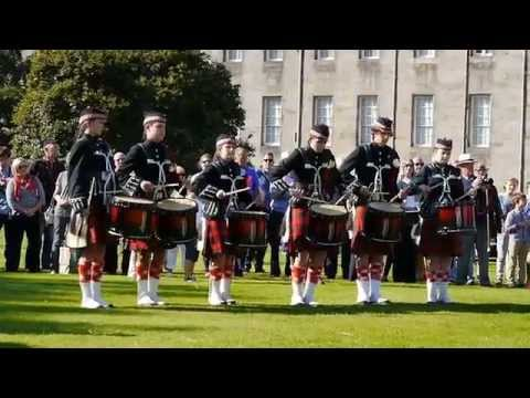 The Pipes and Drums of Dollar Academy in Holyrood Palace Gardens