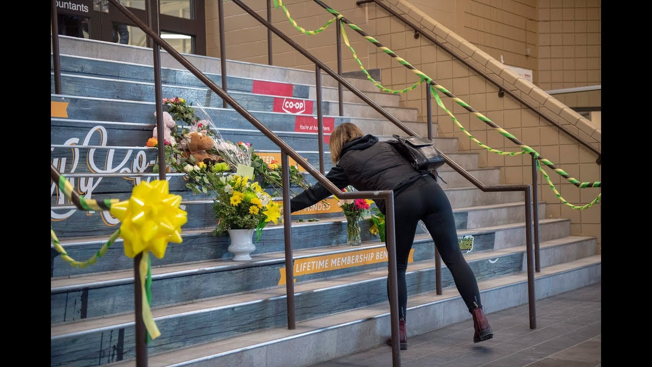 06138ba894bca0 Hockey stick tributes pour in for Humboldt victims - YouTube