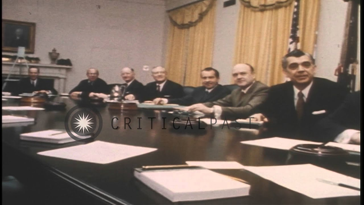 US President Richard Nixon and cabinet members seated at