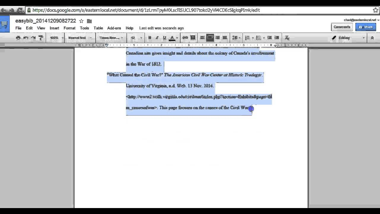 exporting easybib works cited to google doc