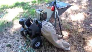 Craftsman Chipper Shredder 8 hp Briggs & Stratton Video - watch it eat through a pile of limbs