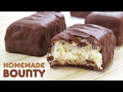 3 INGREDIENT CHOCOLATE-COVERED COCONUT BARS - Homemade Bounty | Easy Recipe | Baking Cherry
