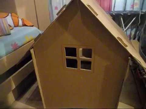 Casita de carton reciclado paso por paso youtube - Casita con tobogan para ninos ...