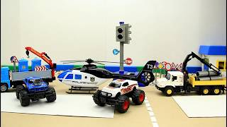 UNBOXING Toys : POLICE HELICOPTER, TRUCKS, Monster Truck