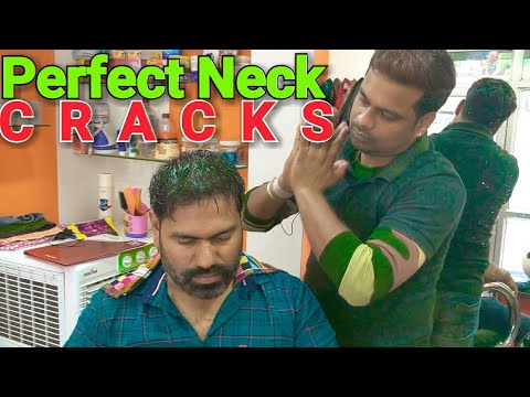 ASMR Head massage with perfect Four side neck cracking by Indian barber.
