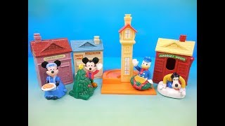 1999 WALT DISNEYS CHRISTMAS WINTER TOWN PLAY SET OF 4 McDONALDS HAPPY MEAL KIDS TOYS VIDEO REVIEW