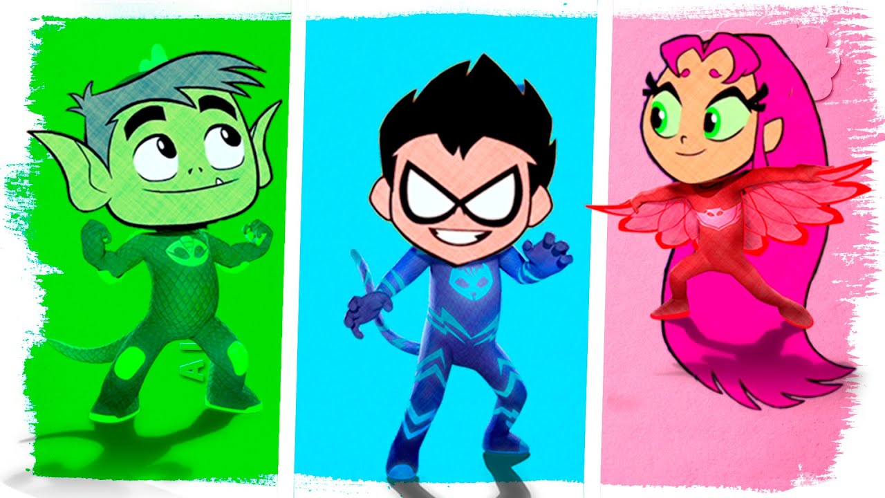 Teen Titans Go! as PJ Masks Coloring Pages | Fun Coloring Videos For ...