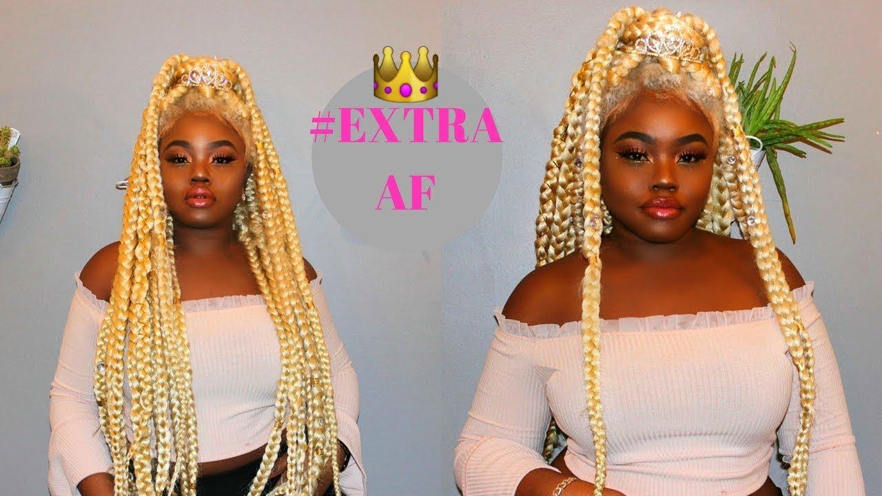 Extra Af 40 Inch Platinum Blonde Jumbo Braided Wig W