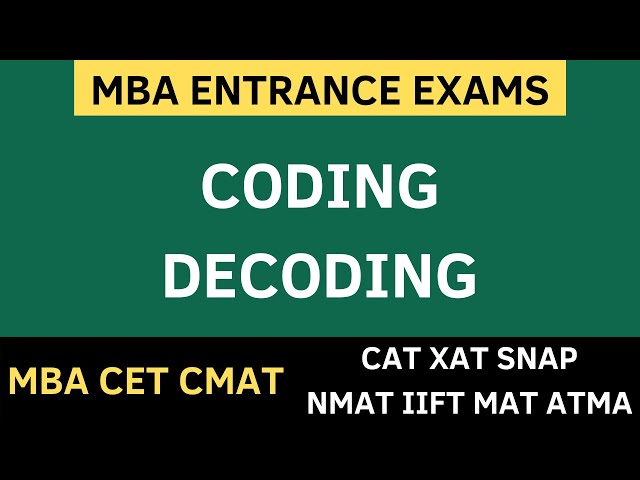 MBA CET 2020 - CODING DECODING REASONING TRICKS | SOLVED QUESTIONS + FREE PDF