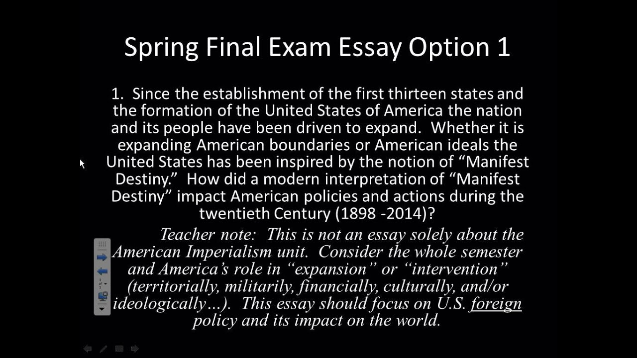 Sample Essay Thesis Statement U S Manifest Destiny Essay Option English Literature Essay Structure also High School Senior Essay U S Manifest Destiny Essay Option  Youtube Essay About Healthy Food