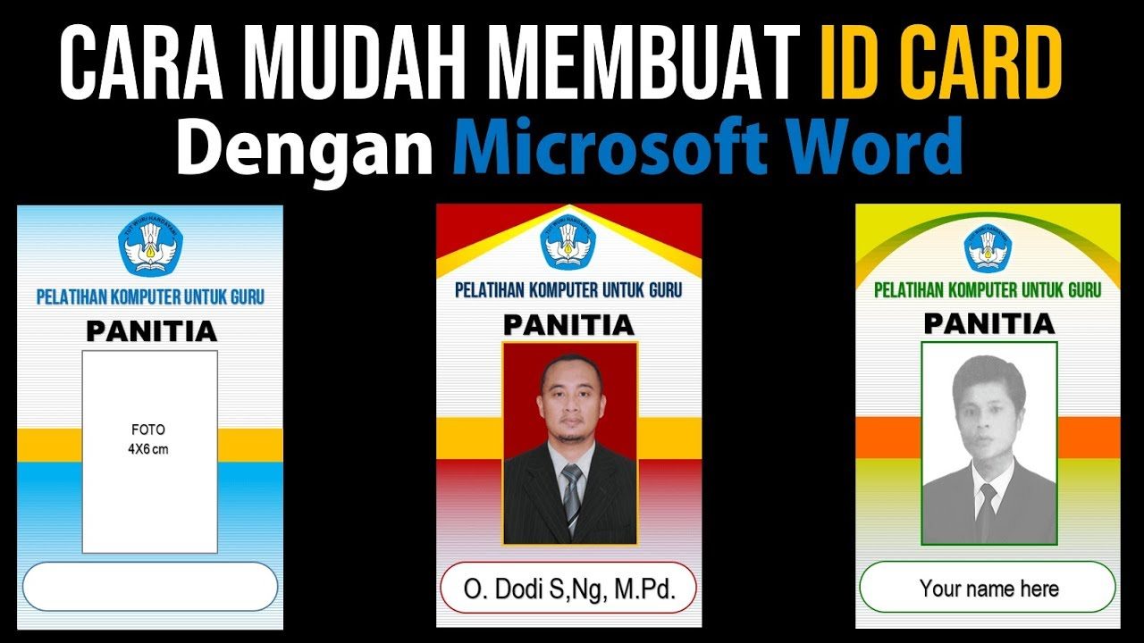 Cara Membuat Id Card Dengan Microsoft Word Youtube