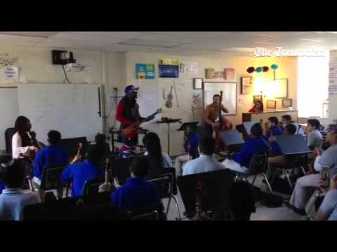 Wyclef Jean sings 'No Woman No Cry' at Foundation Academy Charter School in Trenton @wyclef